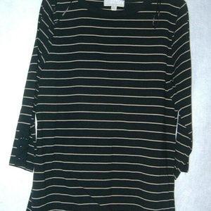 Carolyn Taylor Black Striped Top Size XL  NWOT